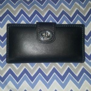 Coach Black Leather Turnlock Checkbook Wallet, EUC
